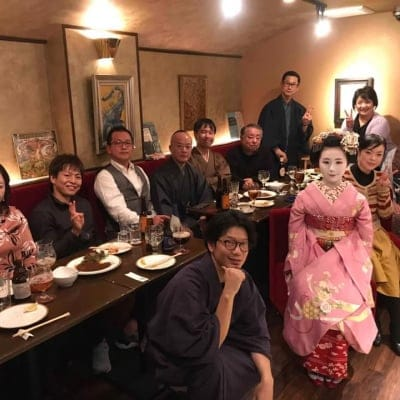 京都幽玄にて 舞妓 叶久さん、叶和佳さんを囲んでの新年会