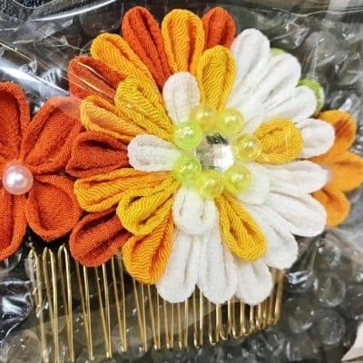 髪飾り フラワーコーム オレンジ つまみ細工
