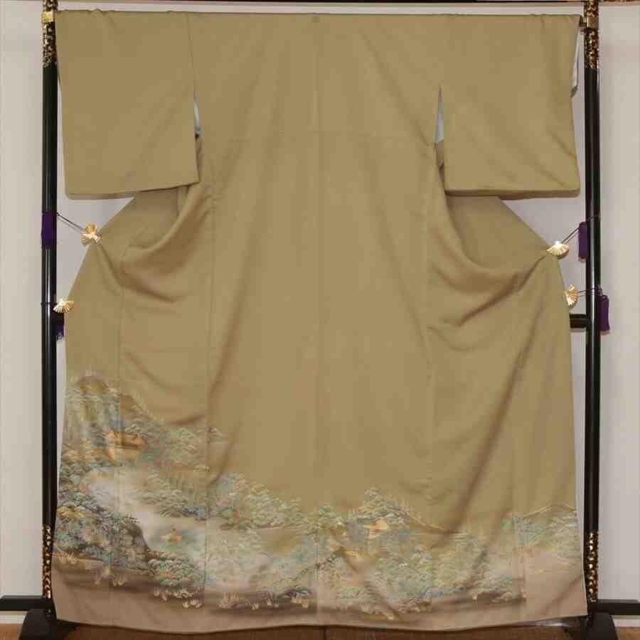 色留/ウグイス色  京の庭園 I(正絹)M 2416-020のイメージその1