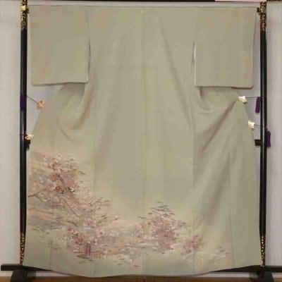 色留/薄グリーン地 松竹梅 (正絹)M 2416-010