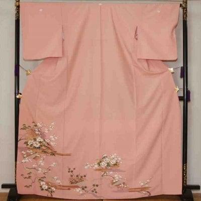 色留/ピンク地梅に牡丹(正絹)M 2410-060