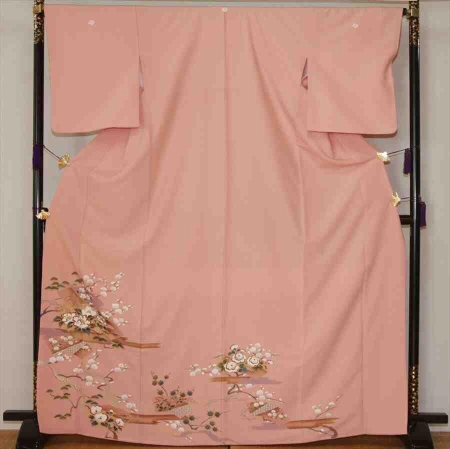 色留/ピンク地梅に牡丹(正絹)M 2410-060のイメージその1