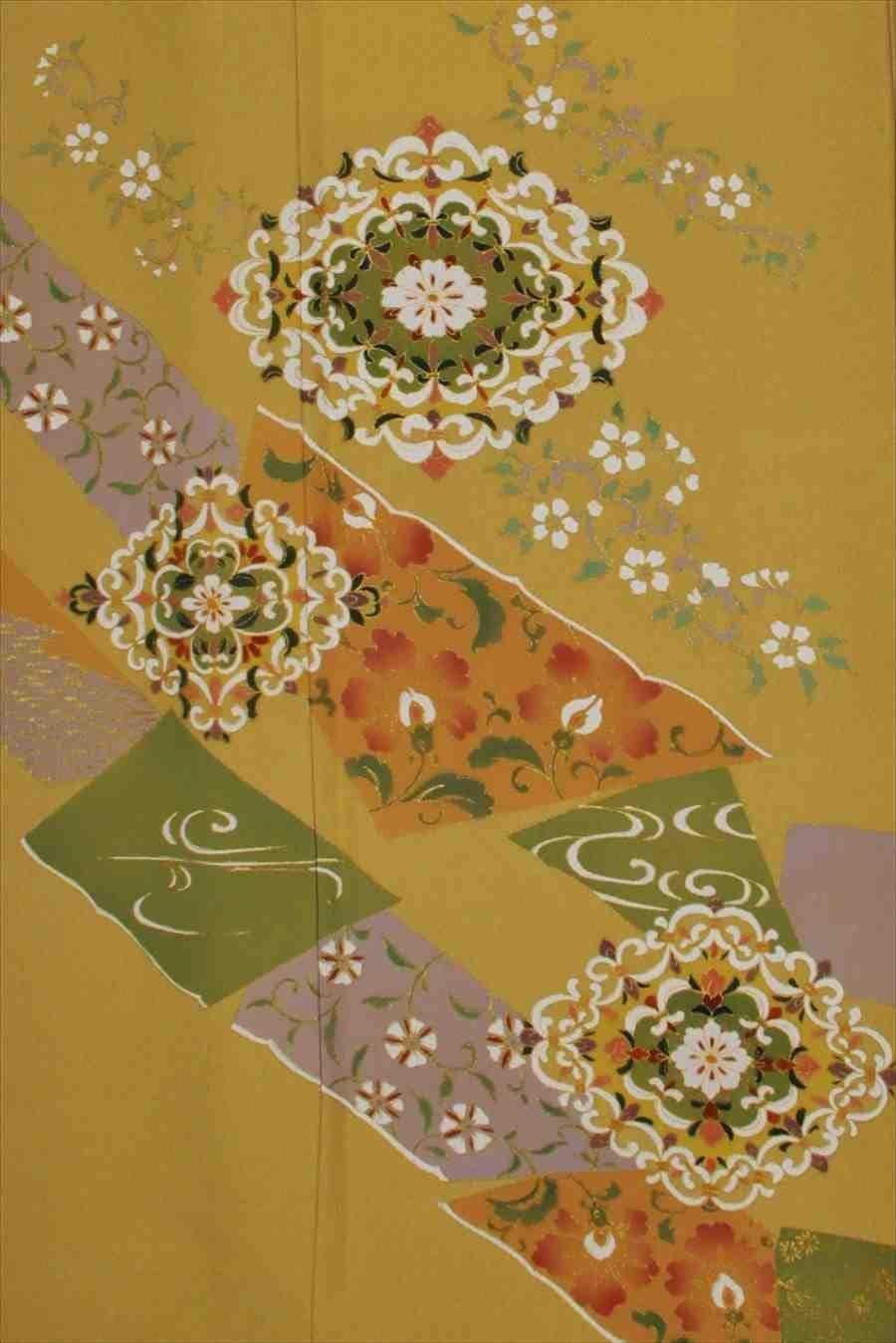 色留/からし色地に花菱(正絹)M 2410-050のイメージその2