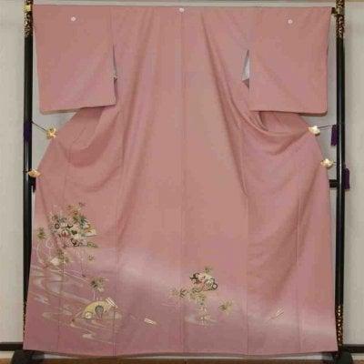 色留/ピンク紫  流れに笹(正絹)M 2410-040