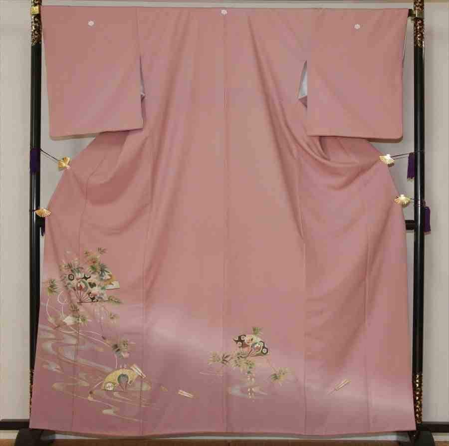 色留/ピンク紫  流れに笹(正絹)M 2410-040のイメージその1