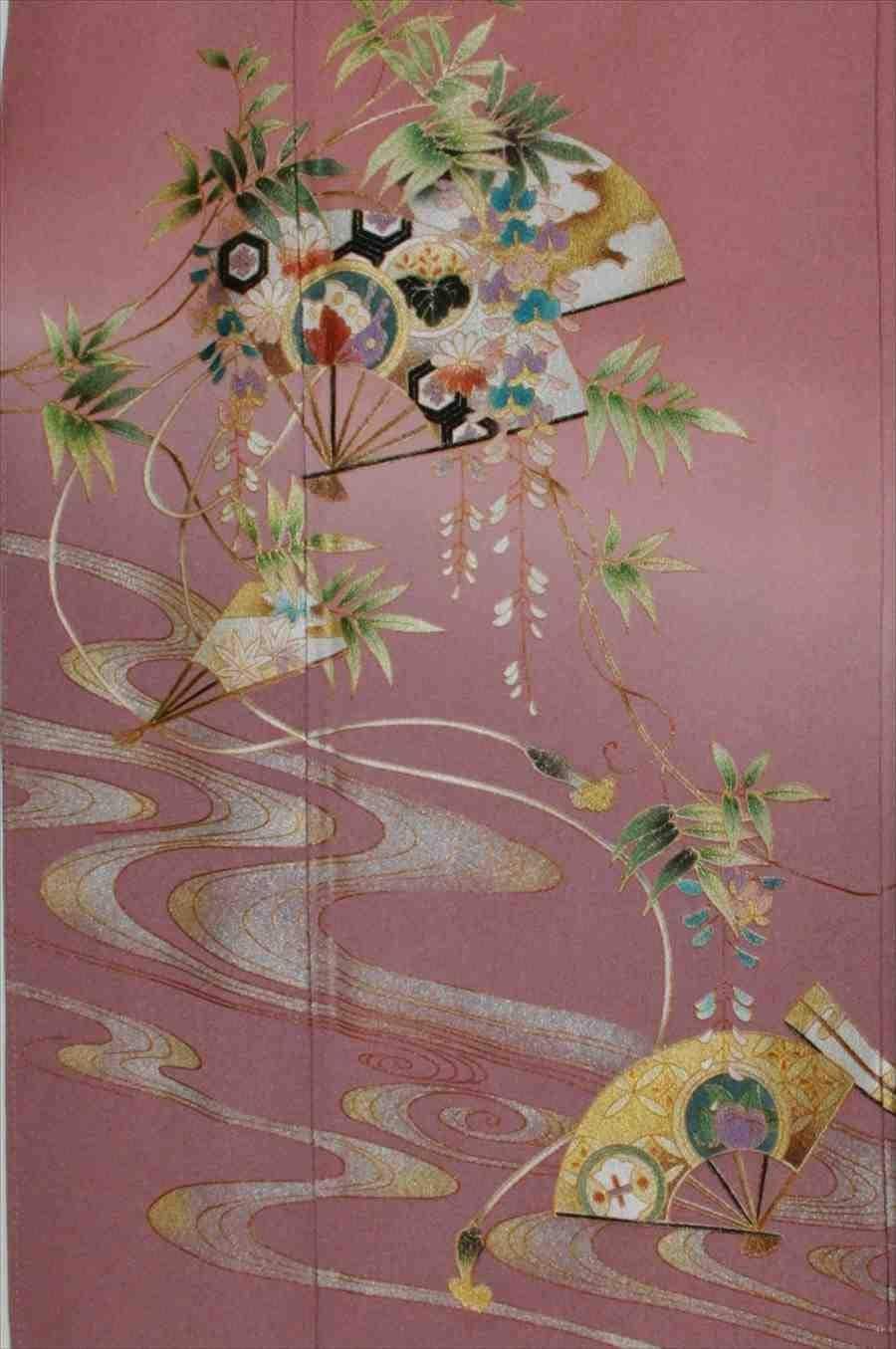 色留/ピンク紫  流れに笹(正絹)M 2410-040のイメージその2