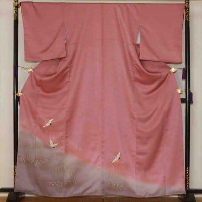 色留/赤紫地に霜に鶴(正絹)M 2410-030