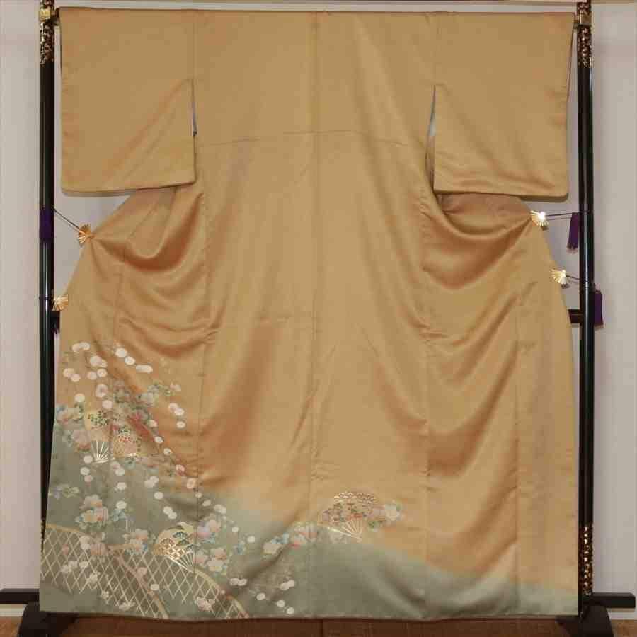 色留/金地に扇に花柄(正絹)M 2410-020のイメージその1