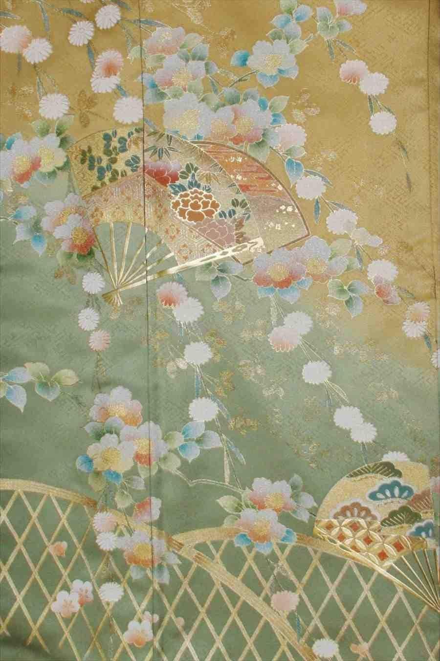 色留/金地に扇に花柄(正絹)M 2410-020のイメージその2