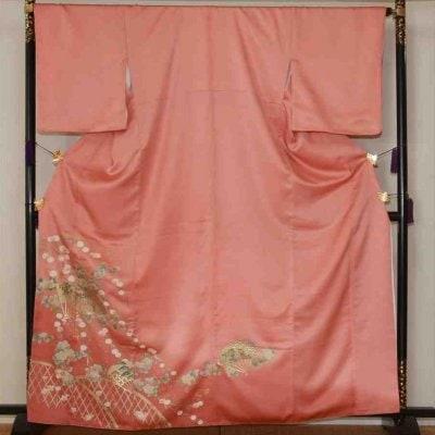 色留/濃ピンク扇に花柄(正絹)M 2410-010