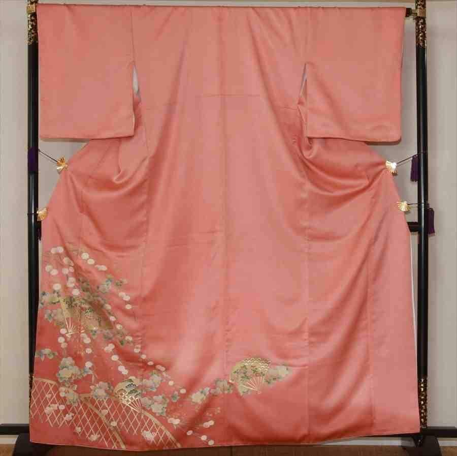 色留/濃ピンク扇に花柄(正絹)M 2410-010のイメージその1