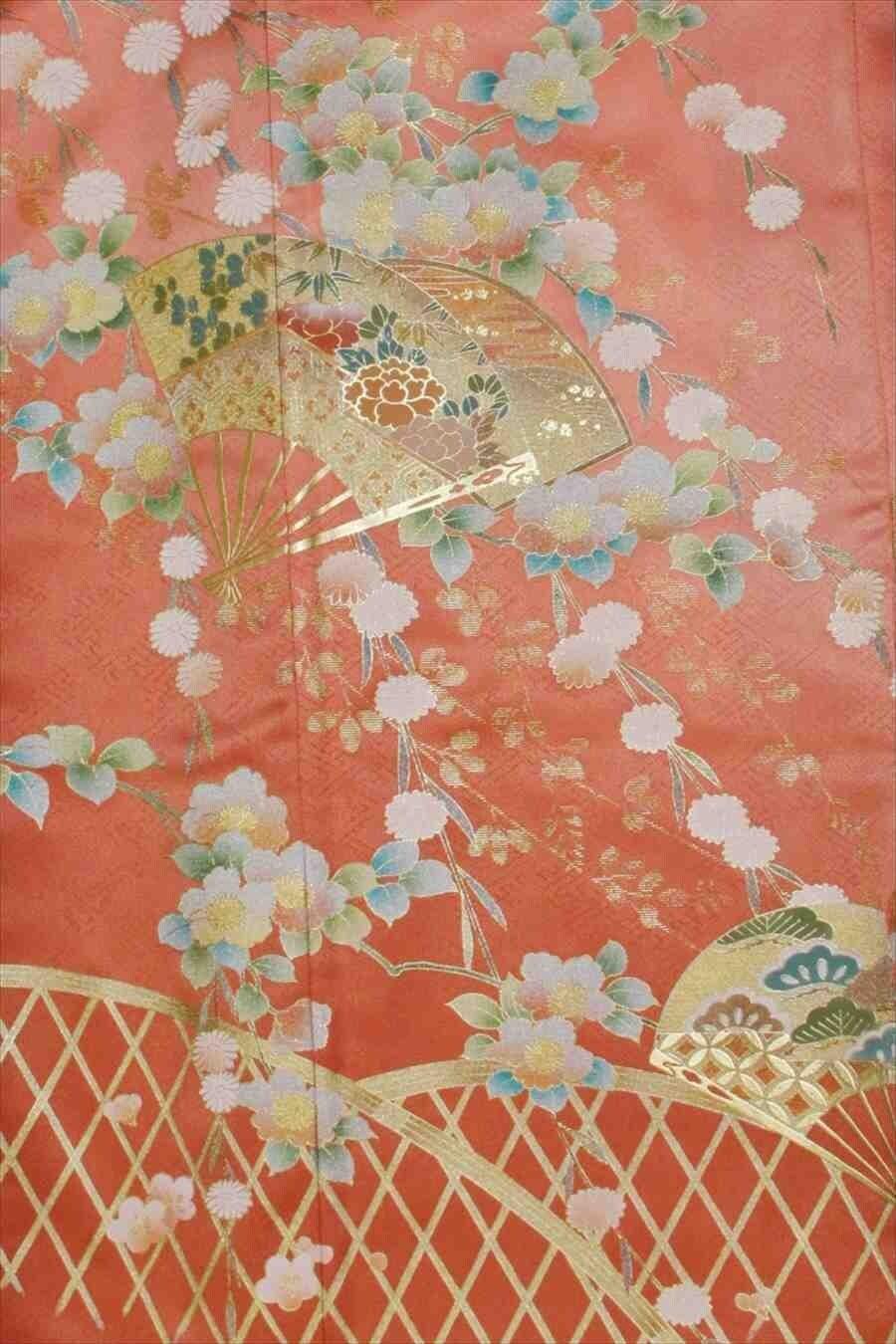 色留/濃ピンク扇に花柄(正絹)M 2410-010のイメージその2