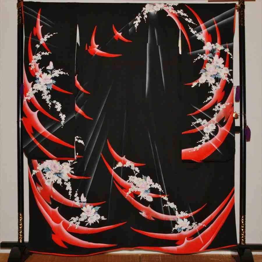 中振/黒に連鶴  59-22  626(正)袖丈108 2371-010のイメージその1