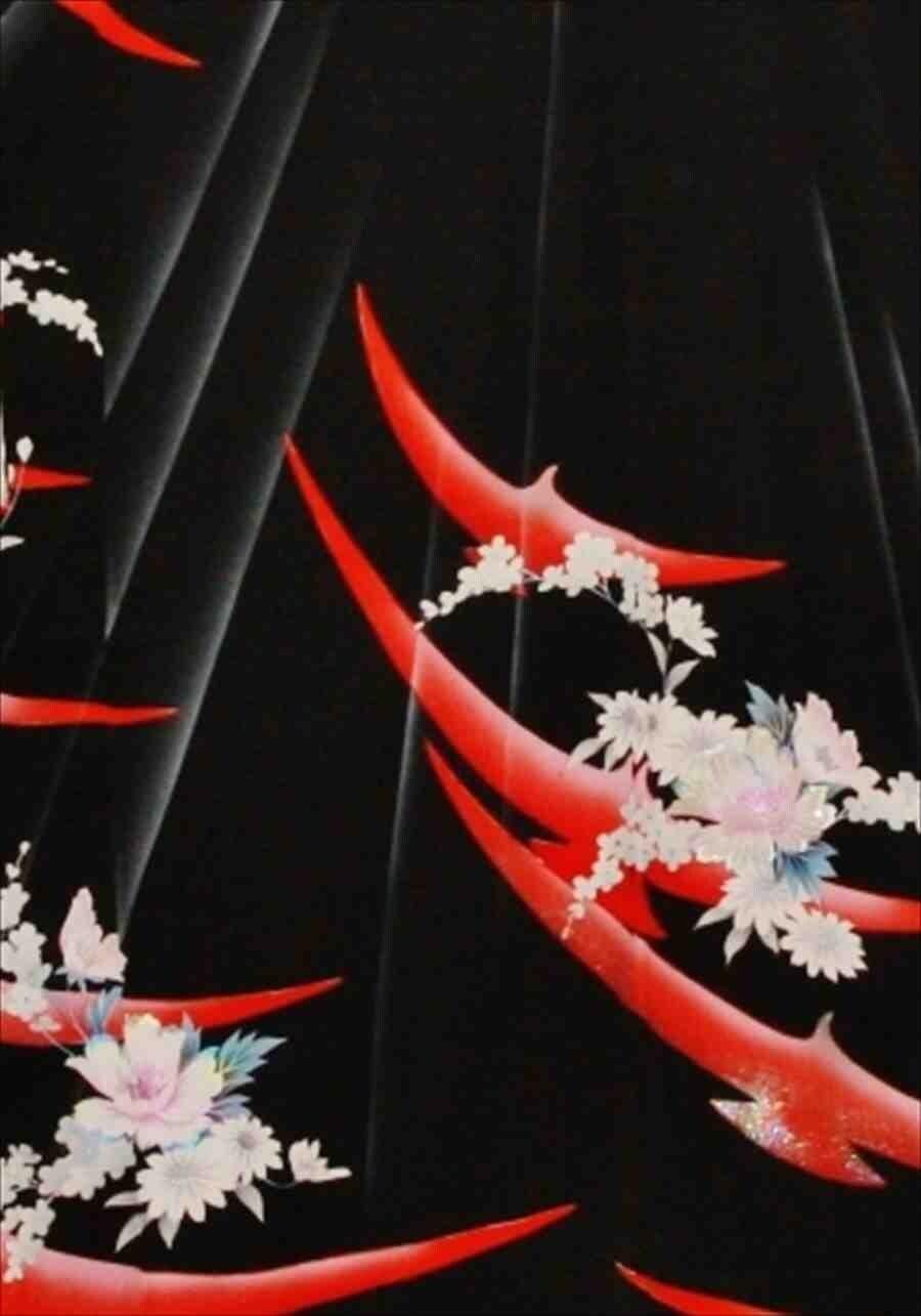 中振/黒に連鶴  59-22  626(正)袖丈108 2371-010のイメージその2