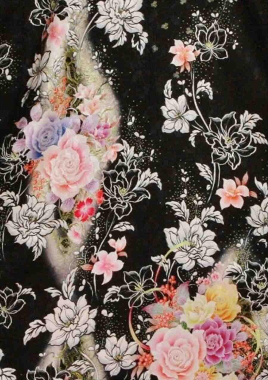 中振/黒地にバラと小花(正)泉友彩 2370-160のイメージその2