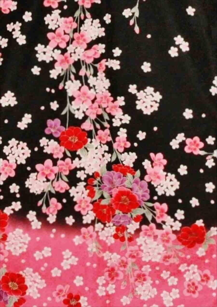 中振/黒にピンク花柄(化)泉友彩 2370-150のイメージその2