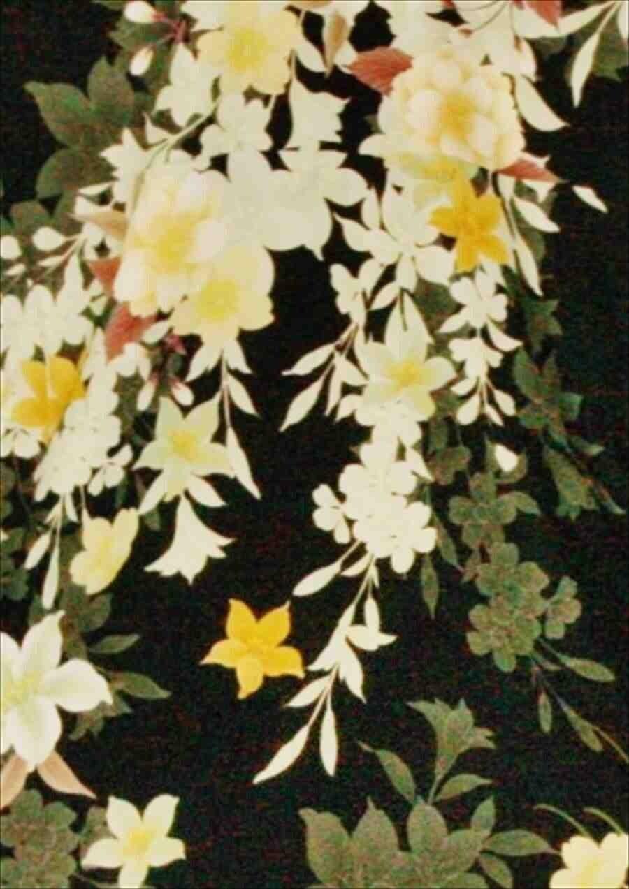 中振/黒地百合蘭菊(化)泉友彩/袖108裄69 2370-130のイメージその2