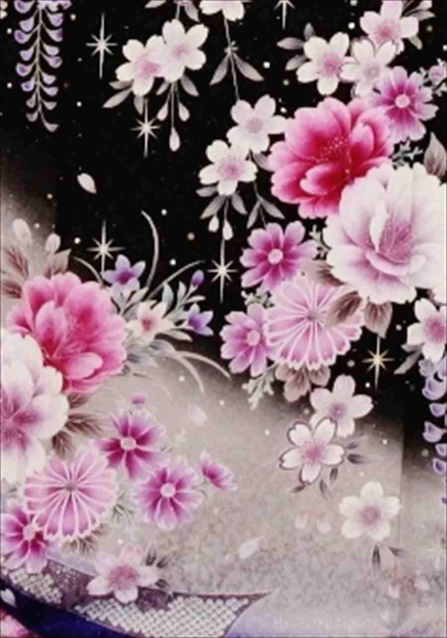 中振/ 黒ラメしだれ桜 泉友彩 袖丈110裄70 2370-120のイメージその2