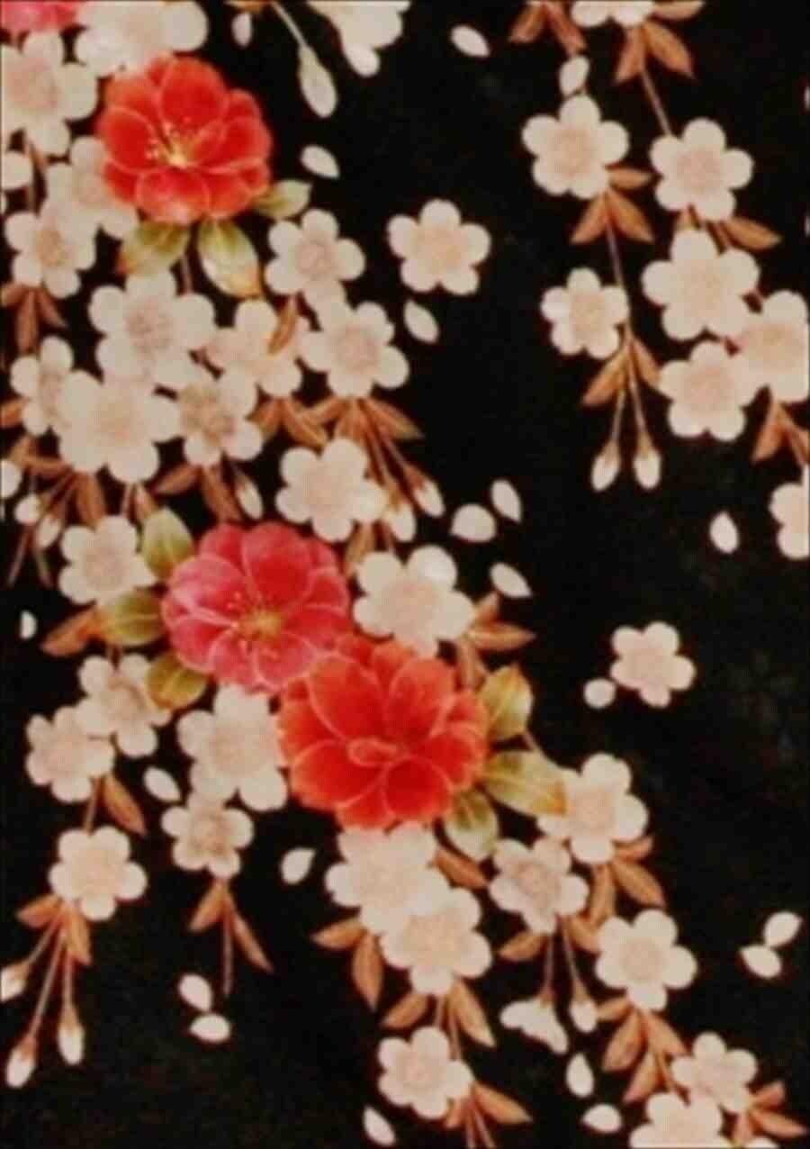 中振/HL黒地桜(化)袖丈108とみおかや 2370-100のイメージその2