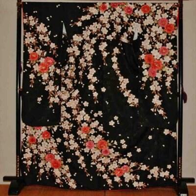 中振/HL黒地桜(化)袖丈108とみおかや 2370-100