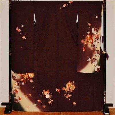 中振/チャコールグレー地亀甲鼓(正)袖丈108裄68 M寸 2370-040