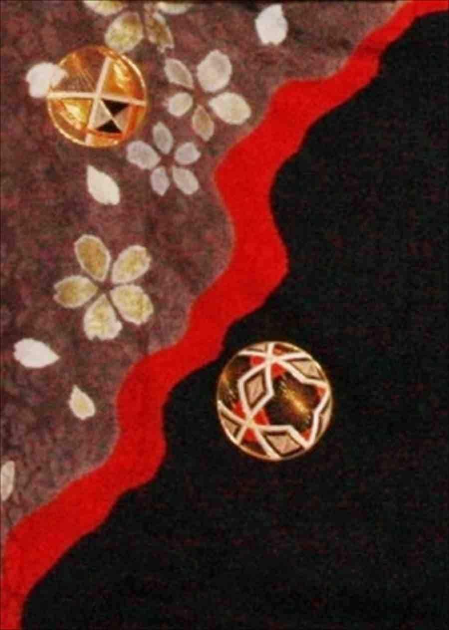 中袖/黒にチャコールグレー桜てまり(正)袖丈108 泉友彩 2370-030のイメージその2