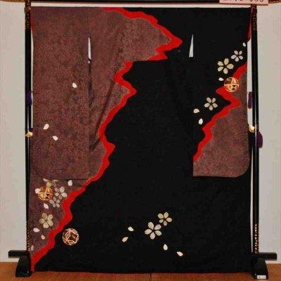 中袖/黒にチャコールグレー桜てまり(正)袖丈108 泉友彩 2370-030