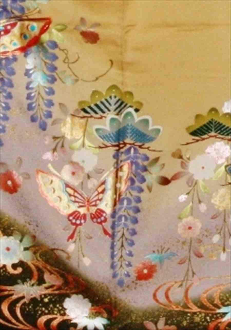 中振/黄色地  藤に桜 (正)袖丈108 2363-030のイメージその2