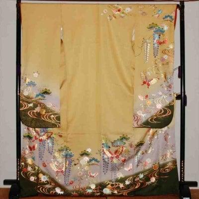 中振/黄色地  藤に桜 (正)袖丈108 2363-030