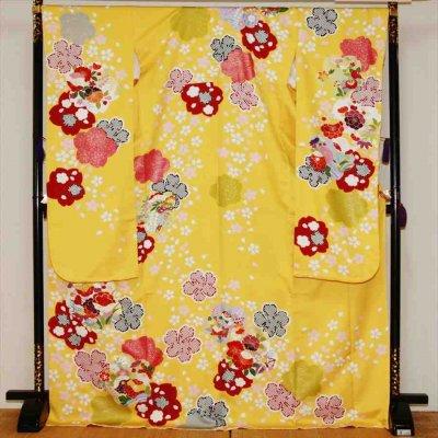 中振/黄色に桜しぼり 袖丈108 /泉友彩 2360-040