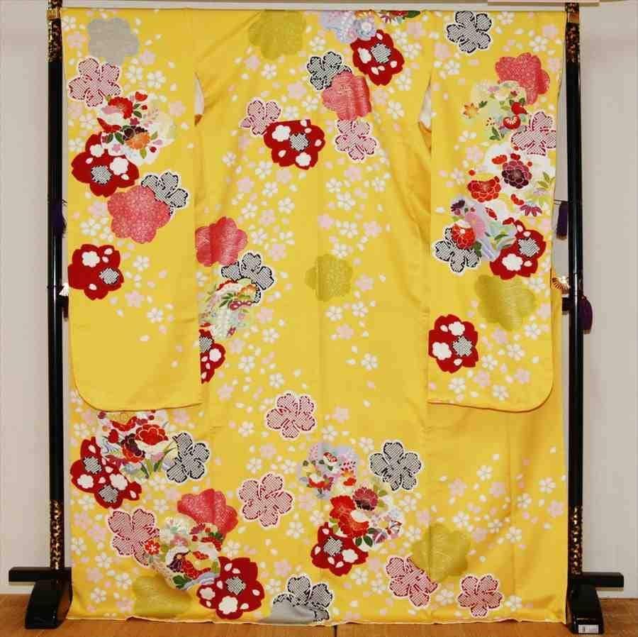 中振/黄色に桜しぼり 袖丈108 /泉友彩 2360-040のイメージその1
