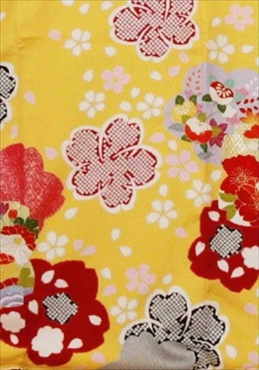 中振/黄色に桜しぼり 袖丈108 /泉友彩 2360-040のイメージその2