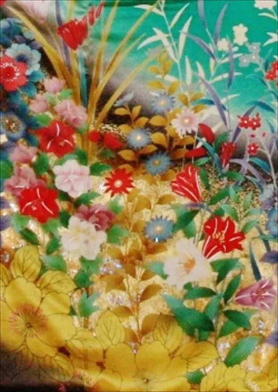 中振/グリーン  洋花 袖丈110 2356-100のイメージその2