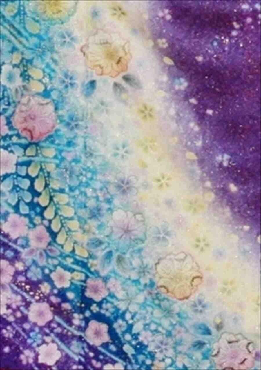 中振/紺 紫ラメ地辻ヶ花小花流し(正)袖丈110とみおかや 2350-070のイメージその2