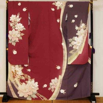 中振/赤紫に芍薬 (正) 袖丈108 泉友彩 2340-050