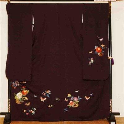 中振/紫地に花かご (秀)(正)袖丈110 2340-040