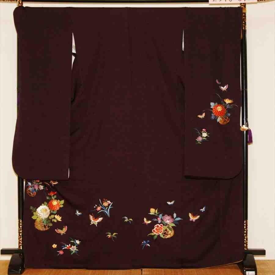 中振/紫地に花かご (秀)(正)袖丈110 2340-040のイメージその1