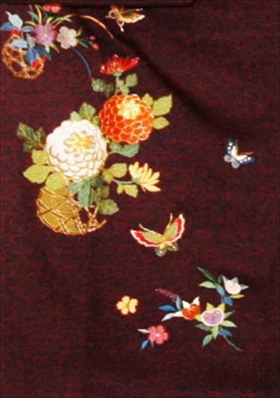 中振/紫地に花かご (秀)(正)袖丈110 2340-040のイメージその2