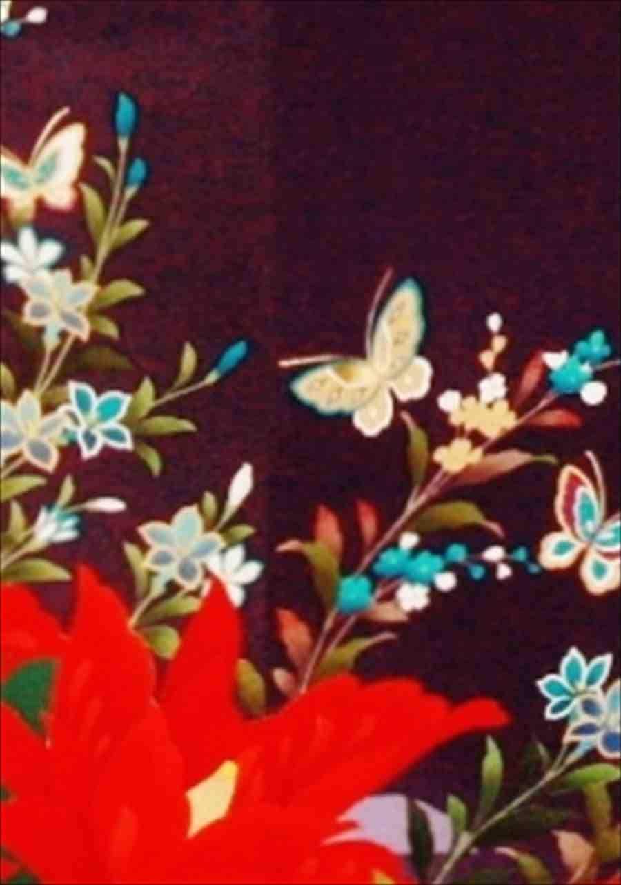 中振/紫に花と金蝶(正)袖丈112 2340-030のイメージその2