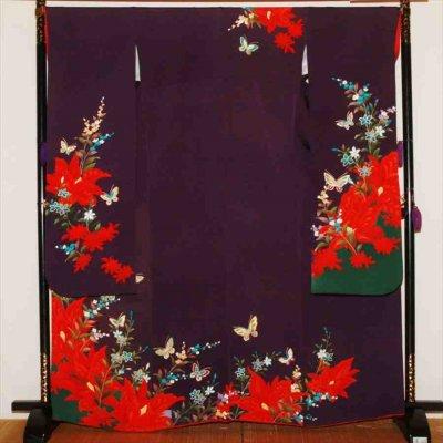 中振/紫に花と金蝶(正)袖丈112 2340-030