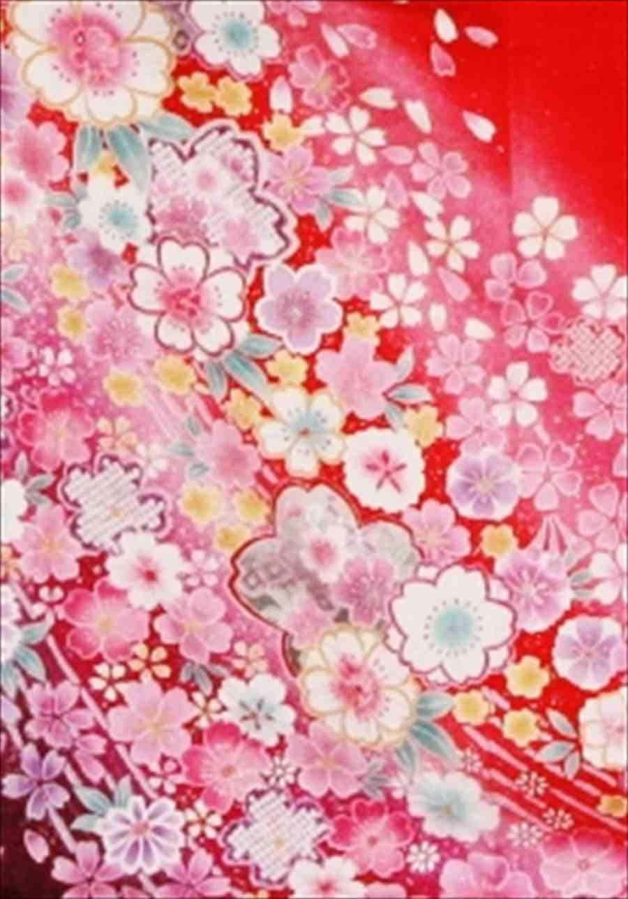 中振/特殊サイズ えんじラメにピンク花流れ 2335-220のイメージその2