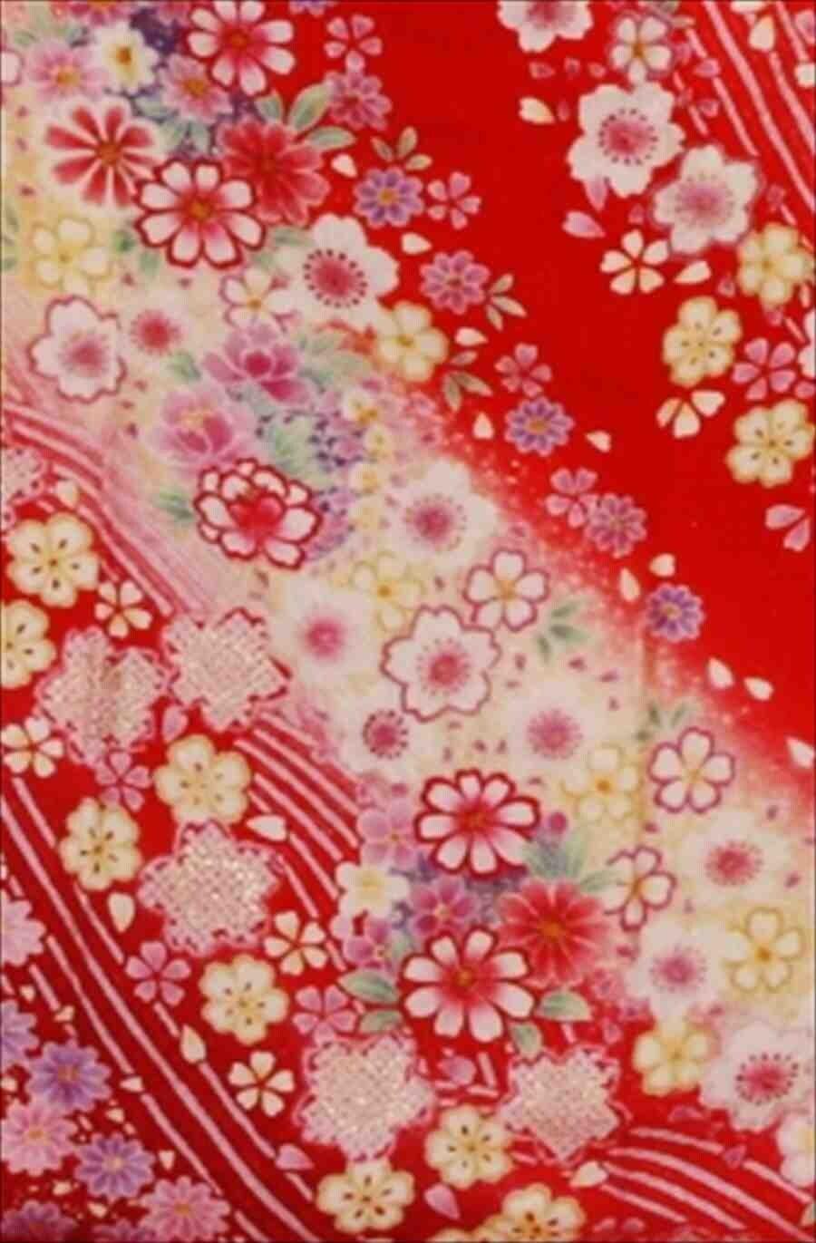 中振/赤ラメぼかしに桜 (正)袖丈110泉友彩 2335-200のイメージその2