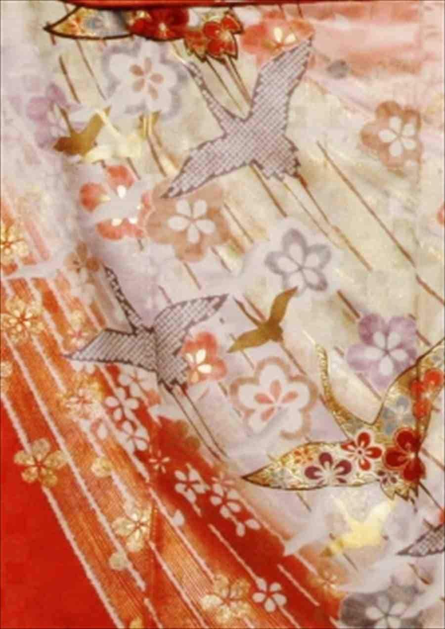 中振/ピンク地しぼり柄の鶴  776(正)袖丈108 2333-180のイメージその2