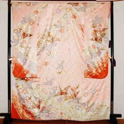中振/ピンク地しぼり柄の鶴  776(正)袖丈108 2333-180