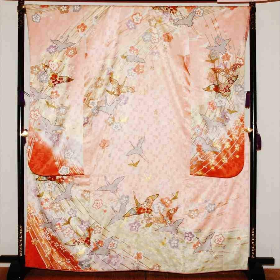 中振/ピンク地しぼり柄の鶴  776(正)袖丈108 2333-180のイメージその1