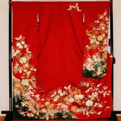 中振/赤地四季の花 (正)袖丈108 泉友彩 2330-060