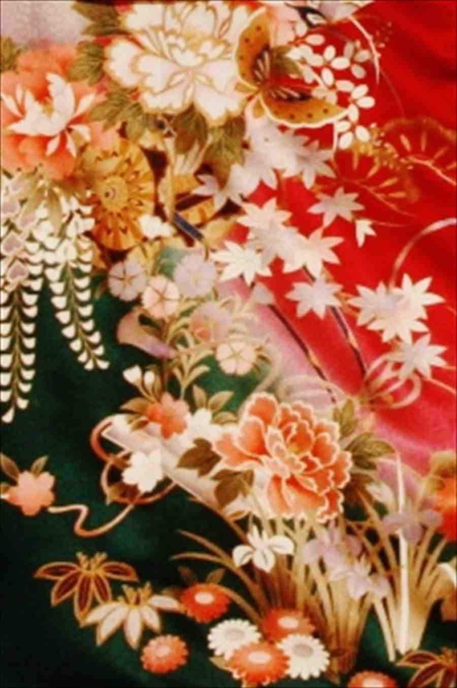 中振/赤地四季の花 (正)袖丈108 泉友彩 2330-060のイメージその2
