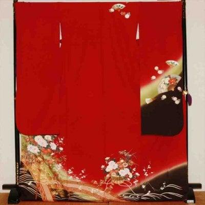 中振/赤地   ワインカラーに牡丹(正)袖丈112 2330-020