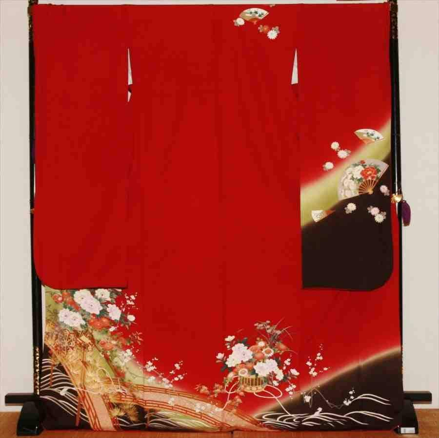 中振/赤地   ワインカラーに牡丹(正)袖丈112 2330-020のイメージその1