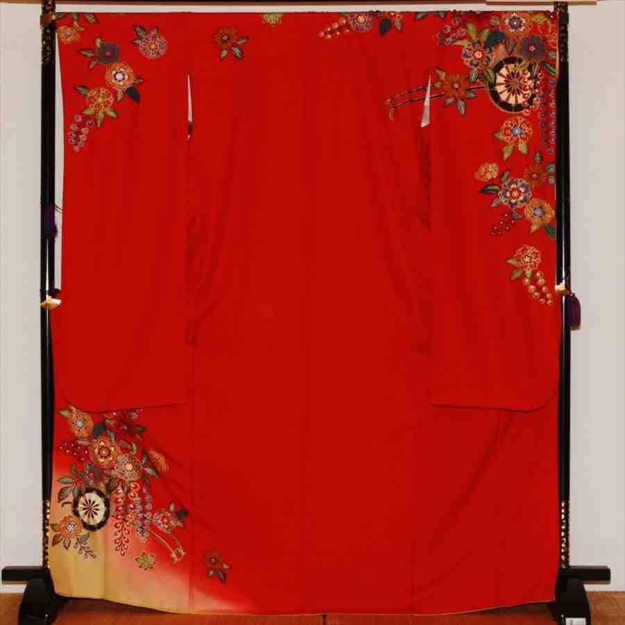 中振/エンジに紅型 (正)袖丈108 2330-010のイメージその1